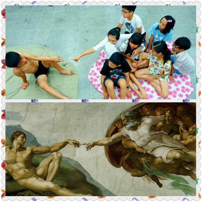 學生表演米開朗基羅壁畫-創世紀